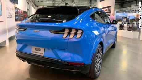 The taillights of the Ford Mustang Mach-E are widely used to highlight the width of the crossover SUV.