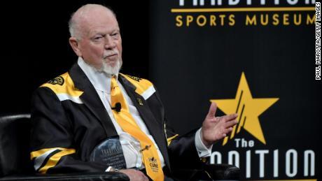 Don Cherry receives the Hockey Legacy Award on November 28, 2018, in Boston.
