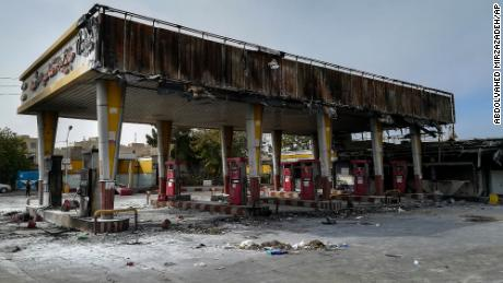 A gas station that was burned during the demonstrations on Sunday, November 17.