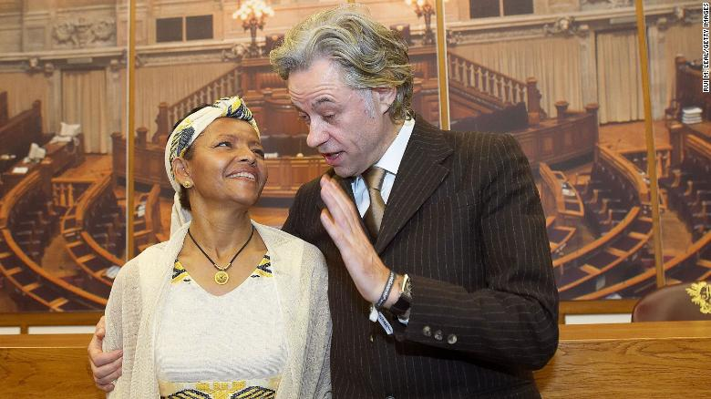 Bogaletch Gebre and Bob Geldof are awarded the North-South Prize at the Portuguese Parliament in Lisbon on November 21, 2005.
