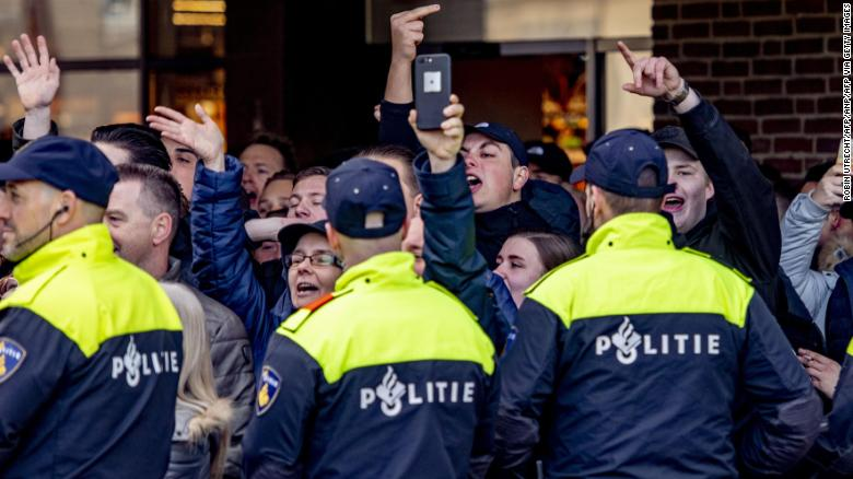 Pro 'Zwarte Piet' protesters in Den Bosch on Sunday.