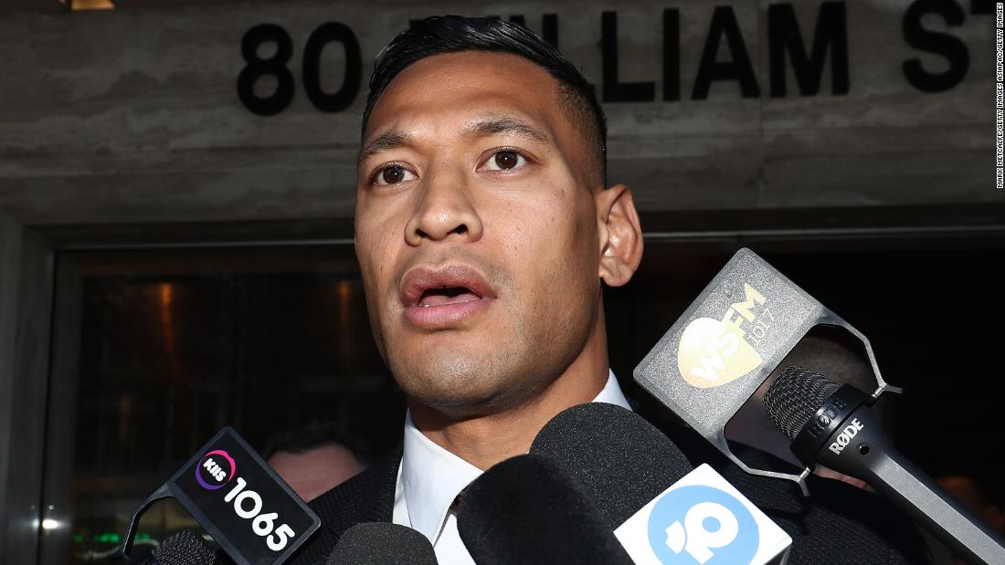 Fan says she was told to remove rainbow flag during Israel Folau's debut match
