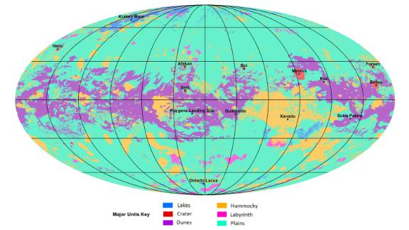The first global geologic map of Titan is based on radar and visible-light images from NASA's Cassini mission.