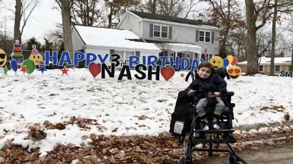 To celebrate Nash's third birthday, the town threw him a parade.