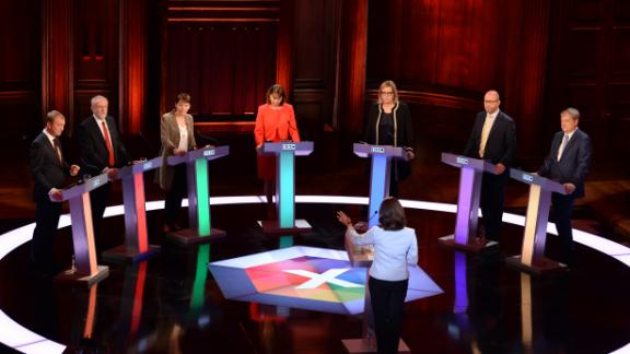 Six party leaders -- and the Conservatives' stand-in Amber Rudd -- during the 2017 debate.
