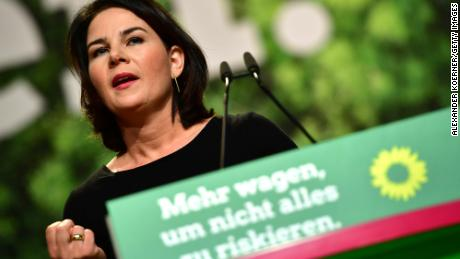Annalena Baerbock, the leader of the Greens, delivers a speech at the conference in the German city of Bielefeld.