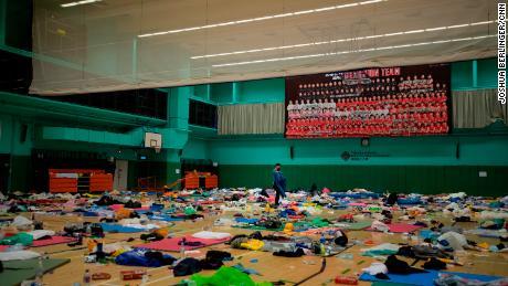 The almost empty gymnasium.