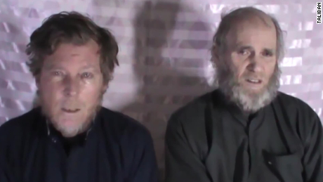 In 2017, the Taliban released a video purporting to show Timothy Weeks (left) and Kevin King (right) asking then-elected President Donald Trump to make an agreement for them to be released.