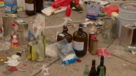Wreckage left at Polytechnic University shows make-shift bomb operations