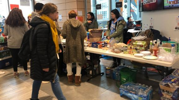 Free meals and snacks are available at a food station at Syracuse University's rec center.