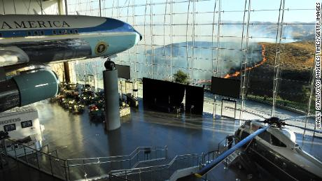 Former President Reagan's Air Force One on display as the Easy Fire burned last month.