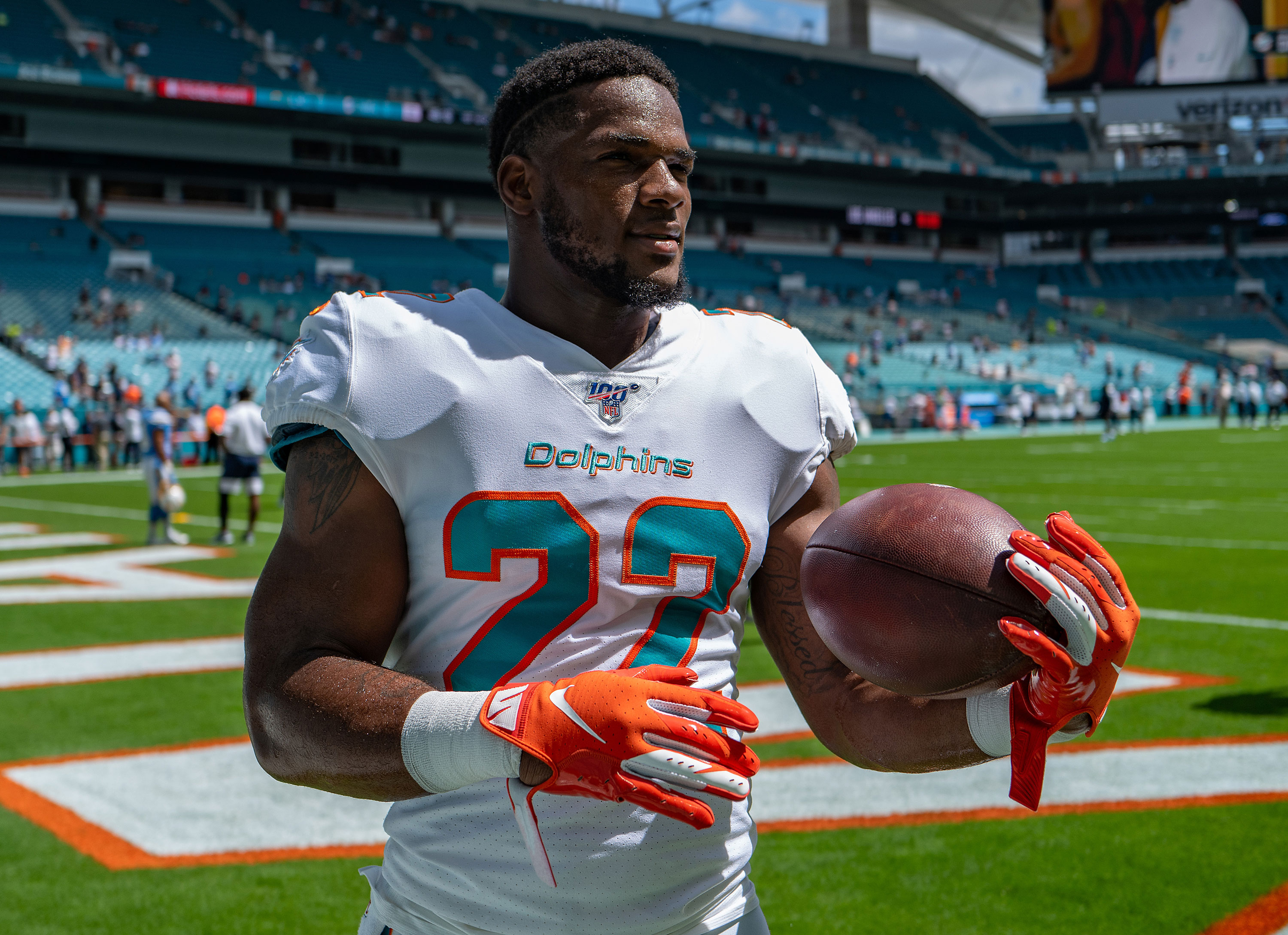 Miami Dolphins cut running back after he's accused of punching a ...