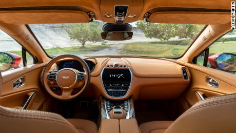 As with other Aston Martin cars, the DBX's interior is largely covered with expensive leather.