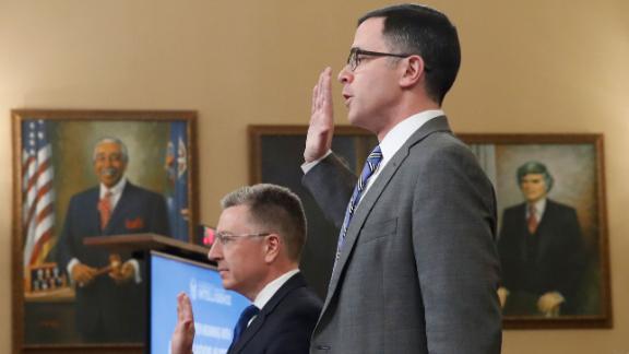 Ambassador Kurt Volker, former special envoy to Ukraine, and Tim Morrison, a former official at the National Security Council, are sworn in before the House Intelligence Committee on Capitol Hill in Washington, Tuesday, Nov. 19, 2019, during a public impeachment hearing of President Donald Trump's efforts to tie U.S. aid for Ukraine to investigations of his political opponents. (AP Photo/Alex Brandon)