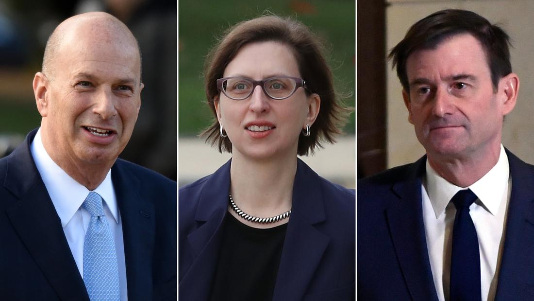 From left, Gordon Sondland, Laura Cooper and David Hale