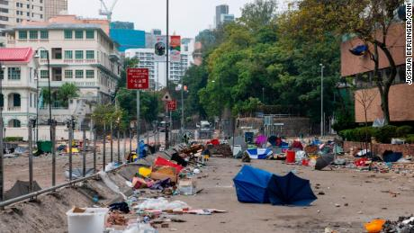 One of the streets near Hong Kong Polytechnic University is seen filled with detritus Tuesday.