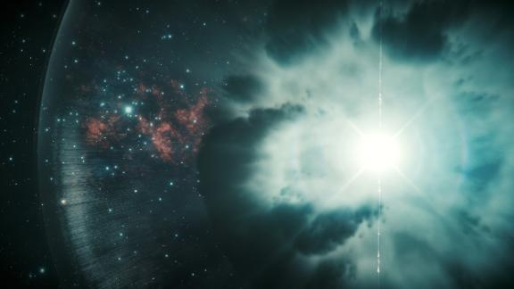 Gamma-ray bursts are shown in this artist
