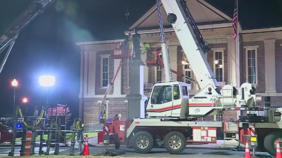 The monument was removed early Wednesday outside the Chatham County courthouse in Pittsboro, North Carolina.