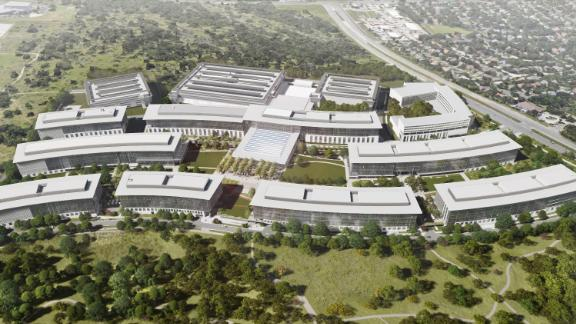 A rendering of the upcoming 133-acre Apple campus in Austin, Texas.