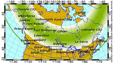 The Aurora Borealis forecast by the Geophysical Institute of the University of Alaska on Wednesday evening.