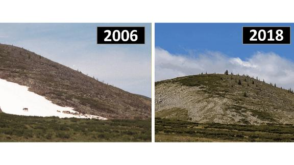 On the left is an image of a persistent snow and ice patch in Mengebulag, Mongolia, taken in 2006, showing domestic reindeer using the patch. On the right is the same patch in 2018, which local residents indicated had melted for the very first time.