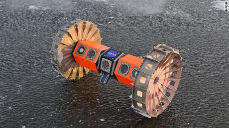 BRUIE uses its buoyancy to anchor itself to the ice and roll along it upside down on two wheels.