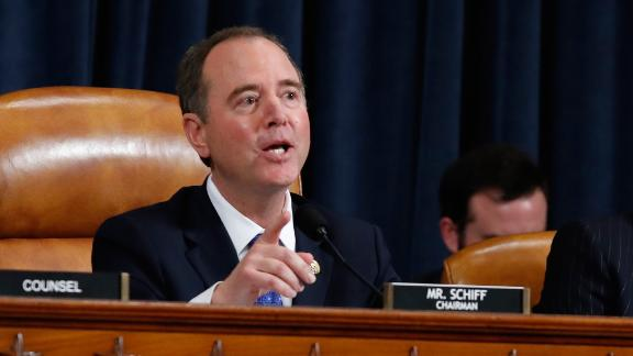 House Intelligence Committee Chairman Adam Schiff, D-Calif., gives closing remarks as Deputy Assistant Secretary of Defense Laura Cooper, and State Department official David Hale, testify before the House Intelligence Committee on Capitol Hill in Washington, Wednesday, Nov. 20, 2019, during a public impeachment hearing of President Donald Trump's efforts to tie U.S. aid for Ukraine to investigations of his political opponents. (AP Photo/Alex Brandon)