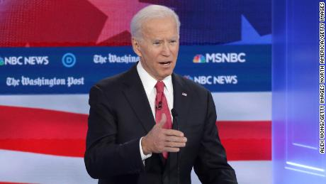 ATLANTA, GEORGIA - NOVEMBER 20: Former Vice President Joe Biden speaks during the Democratic Presidential Debate at Tyler Perry Studios November 20, 2019 in Atlanta, Georgia. Ten Democratic presidential hopefuls were chosen from the larger field of candidates to participate in the debate hosted by MSNBC and The Washington Post.  (Photo by Alex Wong/Getty Images)