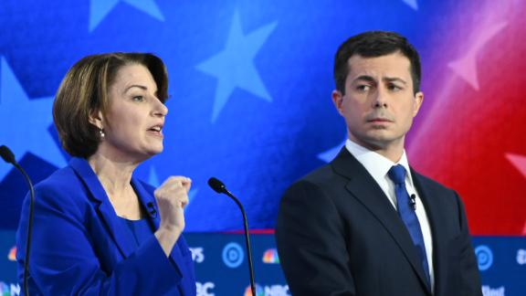 Democratic presidential hopefuls Minnesota Senator Amy Klobuchar (L) and Mayor of South Bend, Indiana, Pete Buttigieg (R) participate in the fifth Democratic primary debate of the 2020 presidential campaign season co-hosted by MSNBC and The Washington Post at Tyler Perry Studios in Atlanta, Georgia on November 20, 2019. (Photo by SAUL LOEB / AFP) (Photo by SAUL LOEB/AFP via Getty Images)