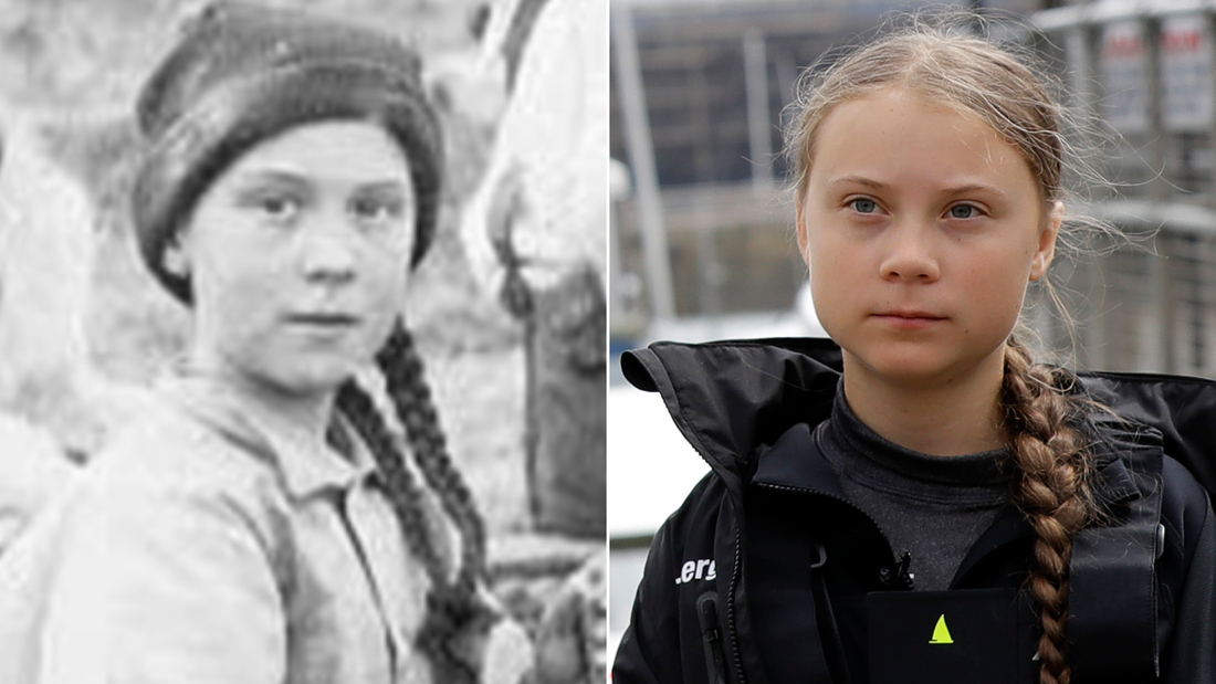 Greta Thunberg of present day, right, looking strangely similar to the girl in a photograph from 1898, left.