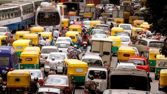 Traffic stands in a queue on Residency Road in downtown Bangalore, India, on Friday, June 22, 2012. The city