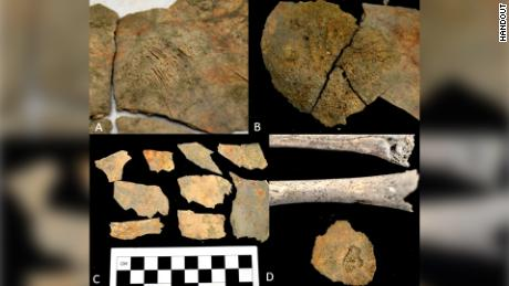 Items found during excavations of ancient burial sites on the coast of Ecuador.
