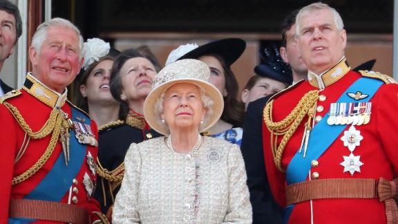 Prince Charles, left, the Queen, center and Prince Andrew, right, during Trooping The Colour -- the Queen's annual birthday parade -- in June in London, England.