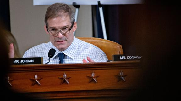 Representative Jim Jordan,(R-OH) questions Fiona Hill, the former top Russia expert on the National Security Council, and David Holmes, a State Department official stationed at the US Embassy in Ukraine testify during the House Intelligence Committee hearing as part of the impeachment inquiry into US President Donald Trump on Capitol Hill in Washington,DC on November 21, 2019. (Photo by Andrew Harrer / POOL / AFP) (Photo by ANDREW HARRER/POOL/AFP via Getty Images)
