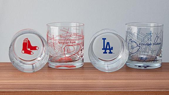Baseball Park Map Glasses ($35; uncommongoods.com): Raise a glass to America