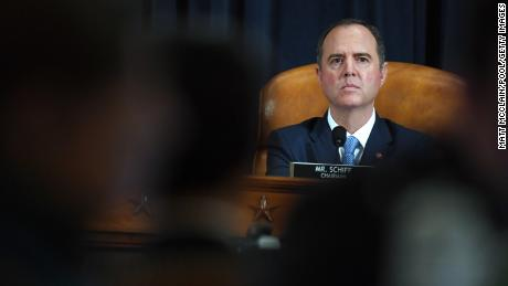 WASHINGTON, DC - NOVEMBER 21: Chair Rep. Adam Schiff (D-CA) and Rep. Devin Nunes (R-CA) look on during testimony by Fiona Hill, the National Security Council's former senior director for Europe and Russia, and David Holmes, an official from the American embassy in Ukraine, before the House Intelligence Committee in the Longworth House Office Building on Capitol Hill November 21, 2019 in Washington, DC. The committee heard testimony during the fifth day of open hearings in the impeachment inquiry against U.S. President Donald Trump, whom House Democrats say held back U.S. military aid for Ukraine while demanding it investigate his political rivals.  (Photo by Matt McClain-Pool/Getty Images)