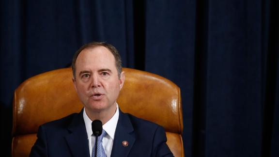 House Intelligence Committee chair, Adam Schiff (D-CA) speaks as Fiona Hill, the former top Russia expert on the National Security Council, and David Holmes, a State Department official stationed at the US Embassy in Ukraine testify during the House Intelligence Committee hearing as part of the impeachment inquiry into US President Donald Trump on Capitol Hill in Washington,DC on November 21, 2019. (Photo by Andrew Harrer / POOL / AFP) (Photo by ANDREW HARRER/POOL/AFP via Getty Images)