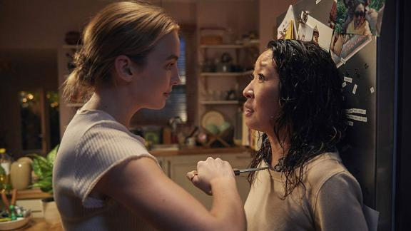 """<strong>""""Killing Eve"""" Season 2</strong>: The story of two women, bound by a mutual obsession and one brutal act: Eve, an MI6 operative, and Villanelle, the beautiful, psychopathic assassin that she has been tasked to find. <strong>(Hulu)</strong>"""