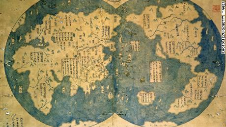 A world map that is believed by some to have been compiled by Zheng He(1371-1435), China's most famous navigator.