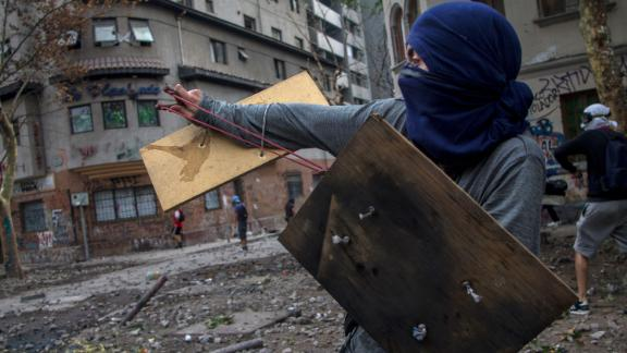 A protester in Santiago on November 21.