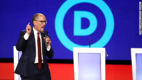 WESTERVILLE, OHIO - OCTOBER 15: Democratic National Committee chair Tom Perez speaks before the Democratic Presidential Debate at Otterbein University on October 15, 2019 in Westerville, Ohio. A record 12 presidential hopefuls are participating in the debate hosted by CNN and The New York Times. (Photo by Win McNamee/Getty Images)