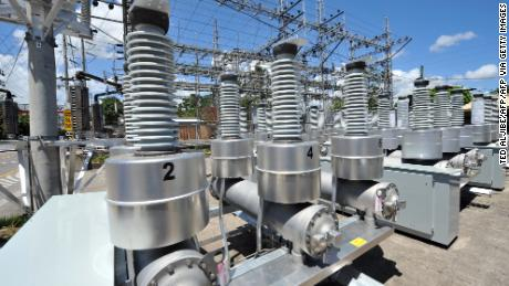Electric transformers seen at a power station in Cebu City, central Philippines on March 1, 2010.