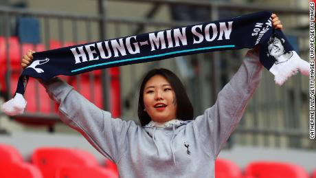 A fan shows her support for Son Heung-Min during a Tottenham Hotspur match.