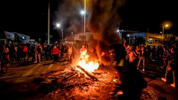People protest in Bogota, on November 22, 2019.