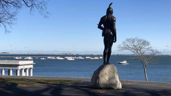 A statue of Massasoit overlooks the sea at Cole