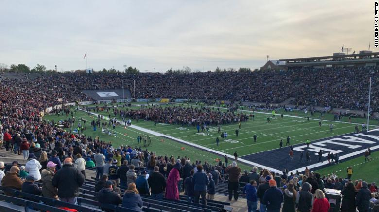 Harvard-Yale game ends in near-darkness after climate change protest
