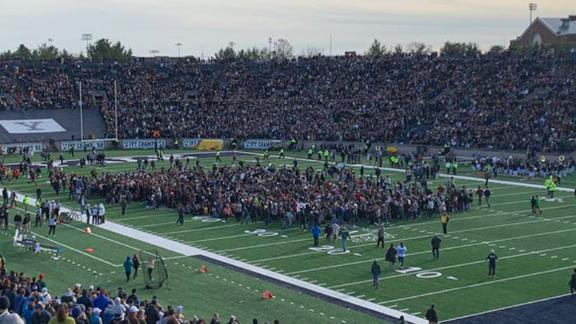 The student protest delayed the 136th edition of the Harvard-Yale game on Saturday.