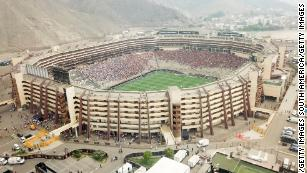 Aerial view of the Monumental Stadium prior to the Copa Libertadores final.