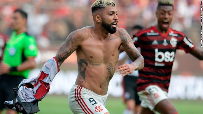 Flamengo's Gabriel Barbosa celebrates after scoring against Argentina's River Plate.
