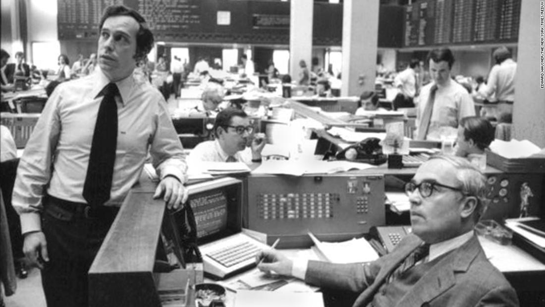 Bloomberg, left, works at Salomon Brothers, a Wall Street investment bank, in 1975.